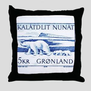 1976 Greenland Polar Bears Postage Stamp Throw Pil