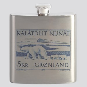1976 Greenland Polar Bears Postage Stamp Flask