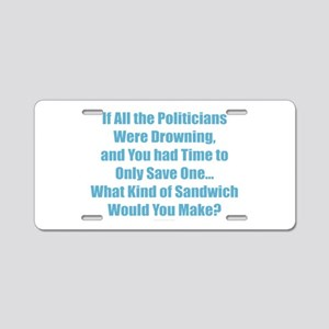 Political Sandwich Blue Aluminum License Plate