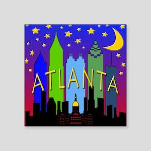 "Atlanta Skyline nightlife Square Sticker 3"" x 3"""