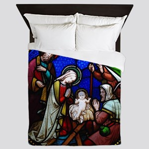 Nativity in stained glass Queen Duvet