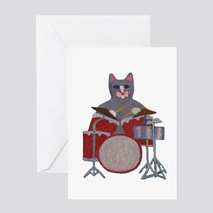 Cat Drummer Greeting Card