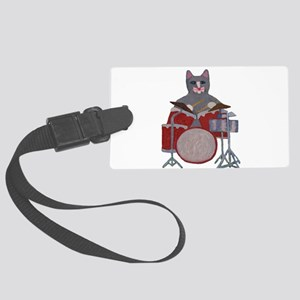 Cat Drummer Large Luggage Tag