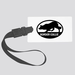 Border Collie Oval Large Luggage Tag