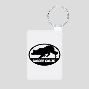 Border Collie Oval Aluminum Photo Keychain