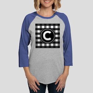 Monogram Letter C Gingham Womens Baseball Tee