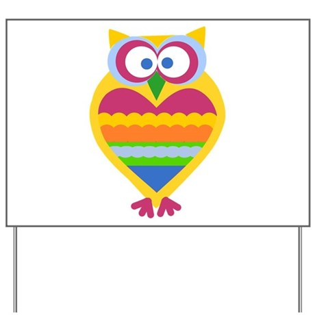 Colorful Owl Yard Sign