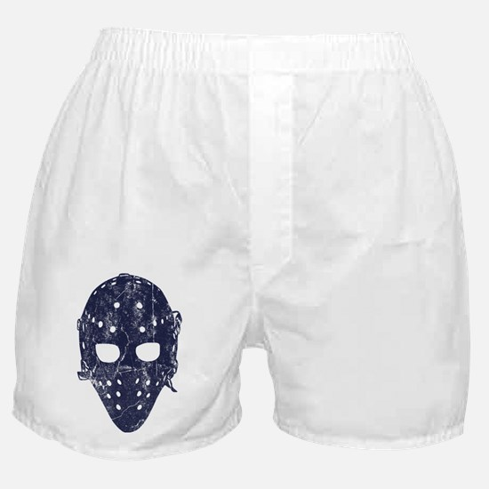 Vintage Hockey Goalie Mask (dark) Boxer Shorts