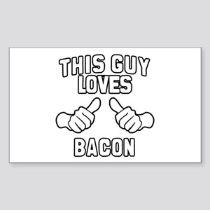 This Guy Loves Bacon Sticker (Rectangle)