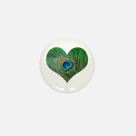 Sparkly Green Peacock Heart Mini Button