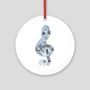 Silver Treble Clef Ornament (Round)