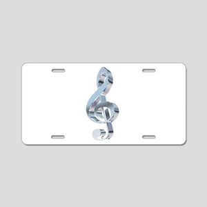 Silver Treble Clef Aluminum License Plate