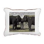 Elephant Eyes Woodcut Rectangular Canvas Pillow
