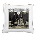 Elephant Eyes Woodcut Square Canvas Pillow
