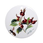 Rose Rosehips and Bee Ornament (Round)