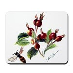 Rose Rosehips and Bee Mousepad
