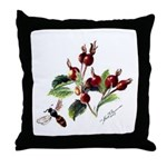 Rose Rosehips and Bee Throw Pillow