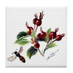 Rose Rosehips and Bee Tile Coaster