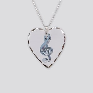Silver Treble Clef Necklace Heart Charm