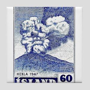 1948 Iceland Hekla Volcano Postage Stamp Tile Coas