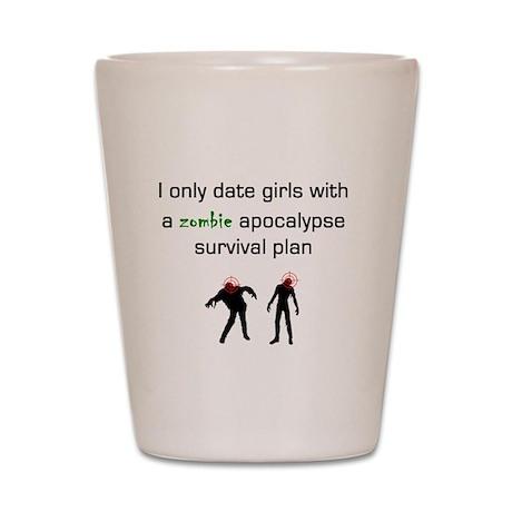 Zombie dating Shot Glass