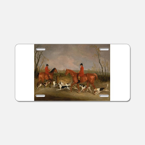 Hunters on Horses with Their Dogs Aluminum License