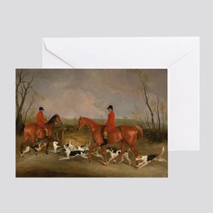 Hunters on Horses with Their Dogs Greeting Card