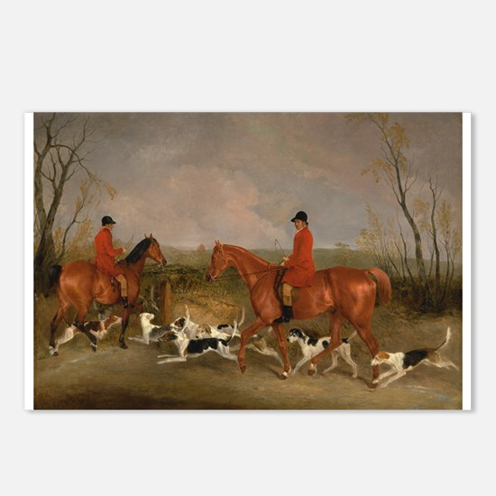 Hunters on Horses with Their Dogs Postcards (Packa