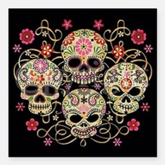 """day of the dead Square Car Magnet 3"""" x 3"""""""
