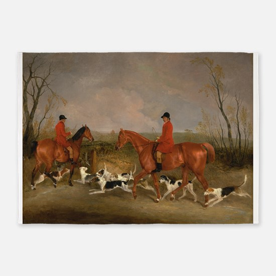Hunters On Horses With Their Dogs 5 X7 Area Rug