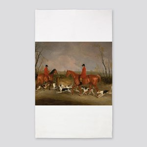 Hunters on Horses with Their Dogs 3'x5' Area Rug