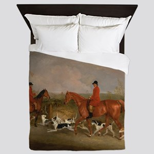 Hunters on Horses with Their Dogs Queen Duvet