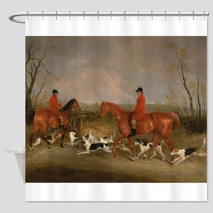 Hunters on Horses with Their Dogs Shower Curtain