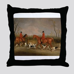 Hunters on Horses with Their Dogs Throw Pillow