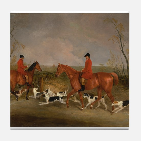 Hunters on Horses with Their Dogs Tile Coaster