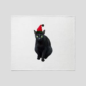 Black Cat Santa Throw Blanket