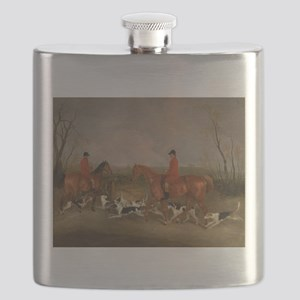 Hunters on Horses with Their Dogs Flask