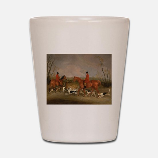 Hunters on Horses with Their Dogs Shot Glass