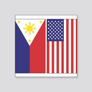 Philippine & US Rectangle Sticker