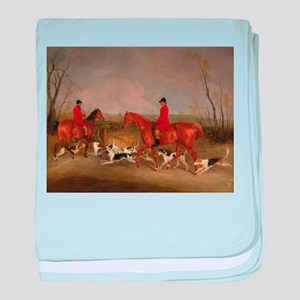 Hunters on Horses with Their Dogs baby blanket