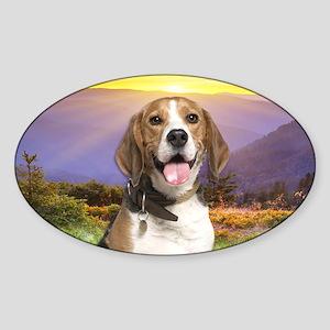 Beagle Meadow Sticker (Oval)