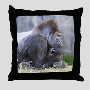 Gorilla in Thought Throw Pillow