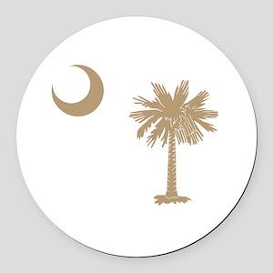Palmetto & Cresent Moon Round Car Magnet