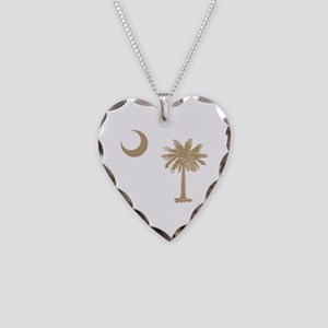 Palmetto & Cresent Moon Necklace Heart Charm