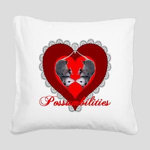 Possum Valentines Heart Square Canvas Pillow