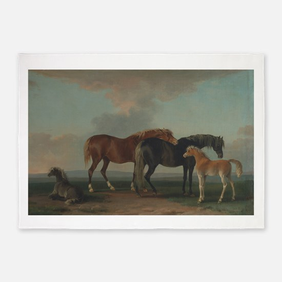 Mares and Foals 5'x7'Area Rug