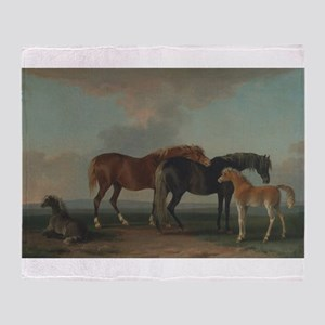 Mares and Foals Throw Blanket