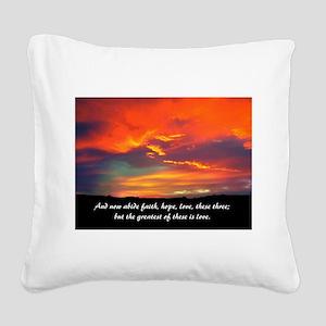 Love Faith Hope Square Canvas Pillow
