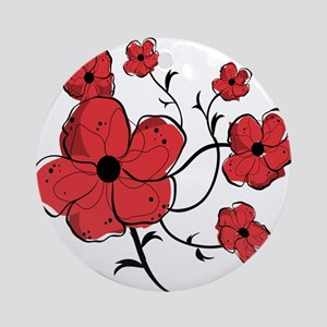 Modern Red and Black Floral Design Ornament (Round