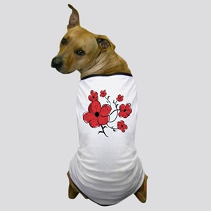 Modern Red and Black Floral Design Dog T-Shirt